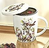 Unbekannt Tasse Teetasse Porzellan weiß mit Deckel, Sieb aus Edelstahl Vogelmotiv Becher Porzellan