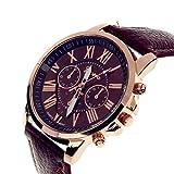 Frauenuhr Quarz Analog Armbanduhr Mode Genf Uhr Doppel Leder Uhr für Frauen mit Batterie Braun