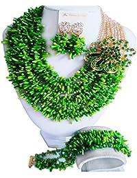 laanc Schmuckset aus afrikanischen Perlen, nigerianischer Brautschmuck, Koralle mit Kristalle