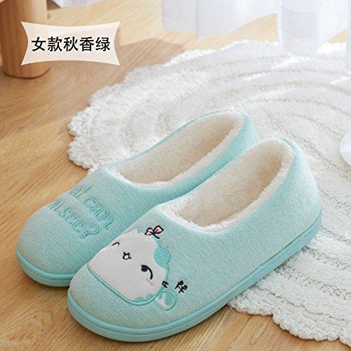 DogHaccd pantofole,Carino con pacchetto ladies pantofole di cotone home inverno caldo spessa cartoon shoes home inverno non - slittamento Verde
