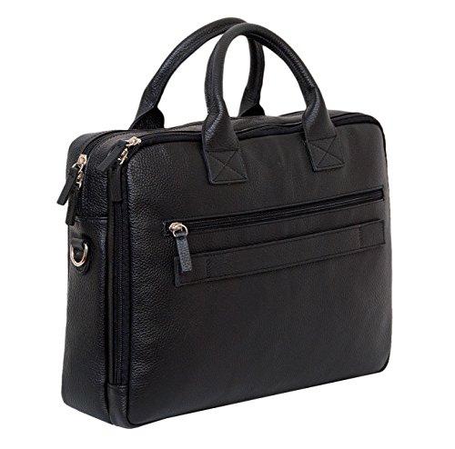 ANDREA CARDONE Aktentasche echt Leder schwarz für Herren und Damen - Laptoptasche Businesstasche Notebook Tasche bis 14 Zoll - MADE in ITALY - mit Tragegurt zum Umhängen (Größe M - schwarz) Größe L - schwarz