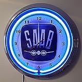 NEONUHR NEON CLOCK - SAAB AEROPLANE - WANDUHR BELEUCHTET MIT BLAUEN NEON RING!