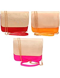Anemone Women's Sling Bag Combo Of 3 (Red Yellow Pink)