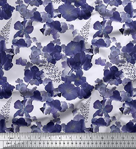 Soimoi Viskose Chiffon Stoff 55 GSM-Blumendruck 42 Zoll breit Material durch die Meter-Creme -