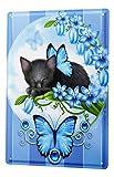 Blechschild Katze Deko schwarzes Kätzchen blaue Blumen Schmetterling Metall Deko Wand Schild 20X30 cm