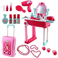 deAO Convertible Suitcase Portable Role Play Set with Accessories