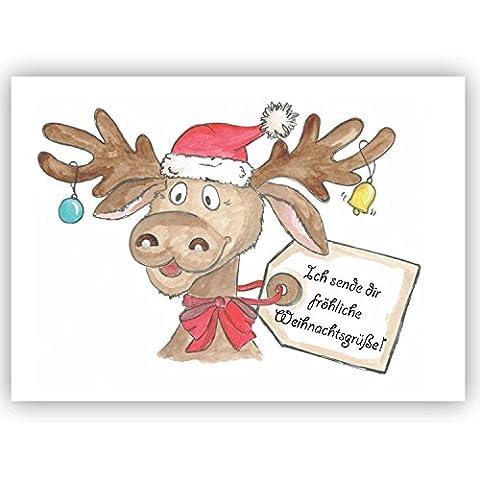 'Postcard Ich Sende Dir Moose Reindeer Christmas Greetings Winter, Christmas, Christmas card, Merry Christmas