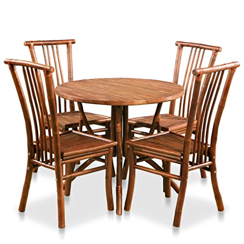 Fesjoy Bamboo Garden Furniture Set, 4 Seat Patio Round Table & Chairs Set Weather Resistant Picnic Camping Dining Table Outdoor Activities Party