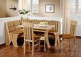 Truhen-Eckbankgruppe Buche natur Dekor; Eckbank, 2 Stühle und Winkelwangentisch, Bezug: braun-kombi, variabel aufbaubar