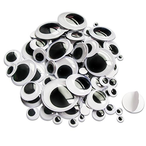 TOAOB Selbstklebend Wackelaugen Runde Schwarz Weiß 6mm - 35mm Bastelaugen Klebeaugen Gemischte Neun Größen Packung mit 100 Stück