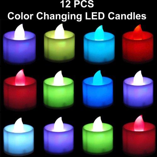 Velas LED sin llama que cambian de color, funcionan con pilas, 12 unidades
