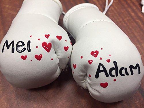 Hochzeit Weiß oder Silber Mini Boxhandschuhe bemalt mit Namen Ihrer Wahl