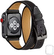 Bestig Band Compatible for Apple Watch 38mm 40mm, Genuine Leather Double Tour Designed Slim Replacement iwatch
