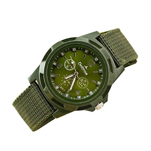 Vovotrade Gli uomini di nuovo modo di sport intrecciata Canvas Belt orologio analogico da polso