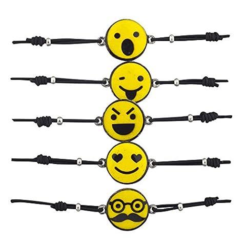Lux Accessories Assorted Smiley Face Emoji Cord Bracelet Set