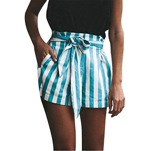 Vectry Damen Hosen kurzs Sommer Hotpants Bermudas Ultra Jeans Leggings Strand Laufgymnastik Yoga Der Sporthosen Schlafanzughosen - Streifen Print Elastic Beach (S, N-Blau) - Baumwoll-satin Bermuda Short
