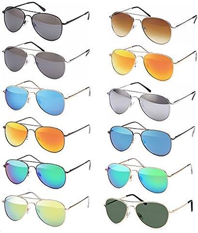 Pilotenbrille Sonnenbrille 70er Jahre Herren & Damen Sunglasses Fliegerbrille verspiegelt (Gold Grün Sonnenbrille)