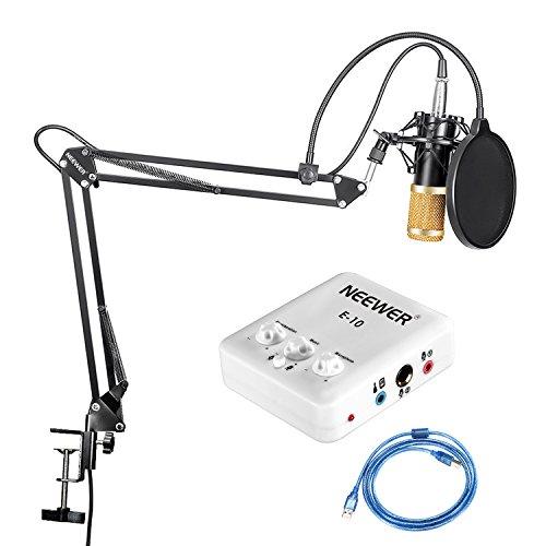 Neewer Kit di Microfono a Condensatore Professionale per Trasmissioni, Canto & Registrazioni, Inclusi: Microfono, Stand Asta di Sospensione Braccio a Forbici Regolabile, Supporto Anti-vibrazione in Metallo, Cavo XLR Femmina e Scheda Audio a USB ecc.