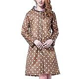 BoodTag Women's Long Sleeve Dot Waterproof Raincoat Fashion Portable Foldable Rainwear Rain Jacket outdoor (Khaki)