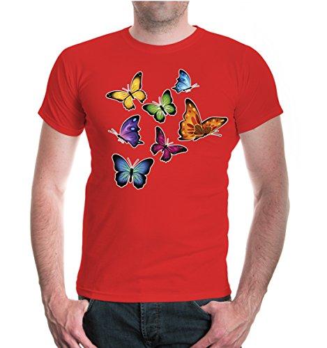 buXsbaum® T-Shirt Schmetterlinge-farbig Red-z-direct