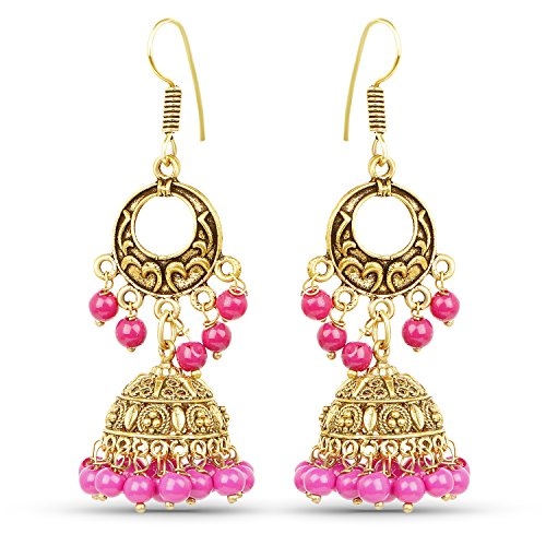Johareez Chand Bali Style Jhumki Earrings with Pink Colour Beads  available at amazon for Rs.239
