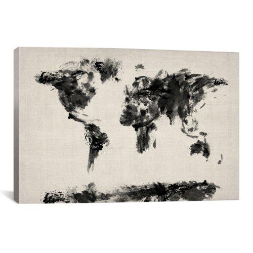 iCanvasART Kunstdruck auf Leinwand, Motiv Weltkarte von Michael Tompsett, 66 x 46 cm - Tompsett Weltkarte Michael
