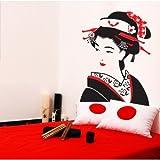 00075 Adesivo murale Wall Art - Giapponesina - Misure 80x105 cm - nero e rosso - Decorazione parete, adesivi per muro, carta da parati