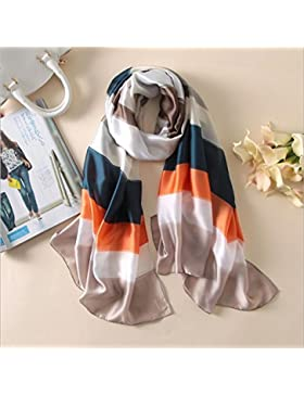 Pañuelo de seda a rayas coloridas mujeres Mantón Nuevo Soft,Naranja,180*90 cm.
