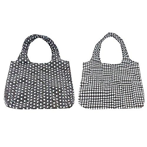 clipbag Umweltfreundlich versenkbarer Shopper Bag Schwarz Weiß Check Dot (Check Nylon-einkaufstasche)