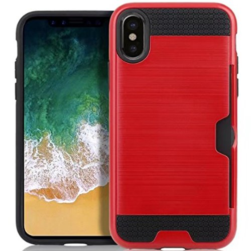 iPhone 7 8 Armor Case, Very Light Slim Lines Style/Convenient IC Card Slot, WEIFA 2017 Newest Super Cool Anti-Drop Protection CellPhone Cover Case For iPhone7 8 White !Red