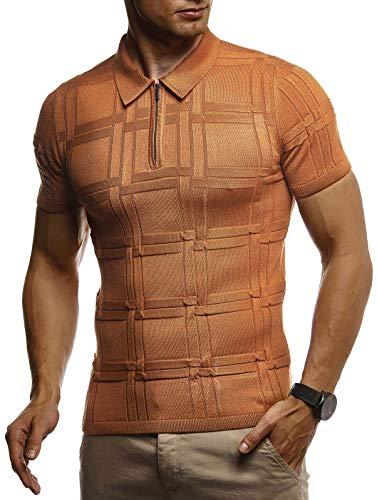 LEIF NELSON Herren Sommer T-Shirt Poloshirt Slim Fit aus Feinstrick | Cooles Basic Männer Polo-Shirt Crew Neck | Jungen Kurzarmshirt Polo Shirt Sweater Kurzarm | LN7325 Camel Large