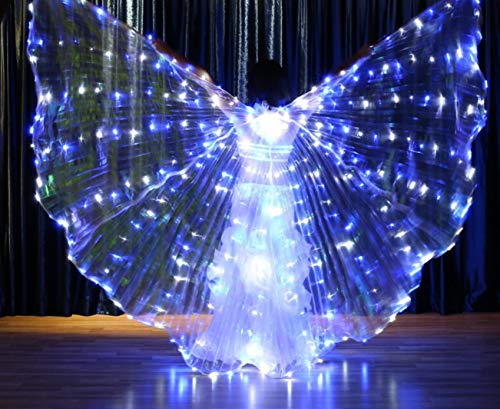Kostüm Break Dance - SMACO Adult LED Light Isis Wings Bauchtanz 360 Grad ägyptischen Bühnenauftritt Neuankömmling DJ LED Wings mit Sticks,B