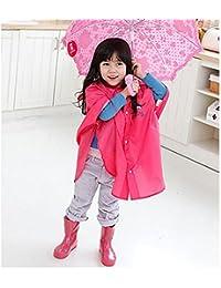 hibote Bebés y Niños poncho de lluvia con capucha del poncho impermeable Tamaño 80-100 (S / rojo)