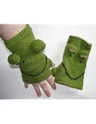 Señoras, Childs rana guantes sin dedos con forro polar unisex ropa de esquí