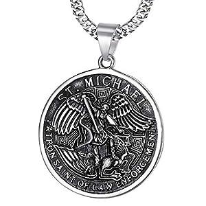 BOBIJOO JEWELRY – Anhänger Medaille-Saint-Michel Michael der Erzengel schirmherr Polizei, sicherheitskräfte, Stahl 316L Kette