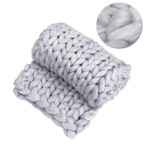 VORCOOL Handgemachte riesige Klobige Wolle Stricken Werfen Sofa Handgestrickte Decke sperrig Home Decor Mat Mat Geschenk (Grau) - Grau Fischgrät Wolle