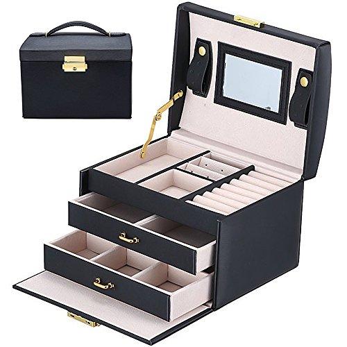 Schmuckkoffer-Schmuckkstchen-Schmuckschrank-Schmuckkasten-Schmuckschatulle-Schmuckbox-Schmuckkiste-fr-Uhren-Ringe-und-Ketten--mit-vielen-Fchern