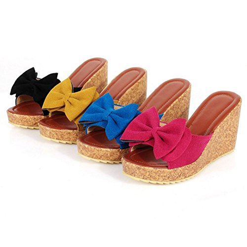 Zanpa Femmes a enfiler Sandales Compense Talons Mules a Bow Rose Red