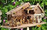Weihnachtskrippe antik-braun, mit XXL-DEKO-SET MIT BRUNNEN + Holzdeko + Tierfiguren + Stall, mit hochwertigen PREMIUM Krippenfiguren