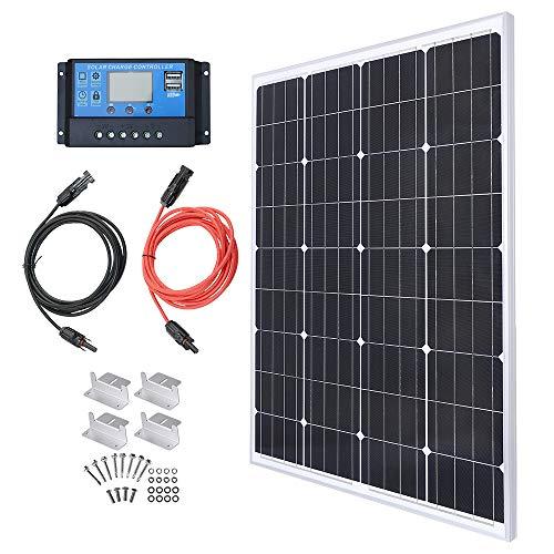 100W 12V Solarpanel Solarmodul Solarpanel-Set 100 Watt 12 Volt Monokristallines Off-Gitter-System für Wohnmobil, Boot mit 10A Solarladegerät Laderegler Solar-Laderegler