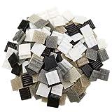 Armena Mosaikstein Mosaikfliesen Glas 2x2cm 500g (Circa 170 Stück) Weiß-Grau-Schwarz