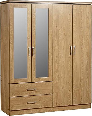 Charles 4 Door 2 Drawer Mirrored Wardrobe in Oak Effect Veneer with Walnut Trim