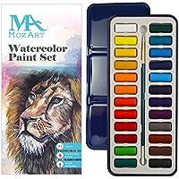 Set de pinturas de acuarela - 24 colores vibrantes - Ligero y portátil - Perfecto para aficionados incipientes y profesionales - Pincel incluido - MozArt Supplies