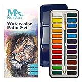 Set pittura ad acquerello – 24 vivaci colori – leggero e portatile – perfetto per artisti in erba e professionisti – pennello incluso - MozArt Supplies