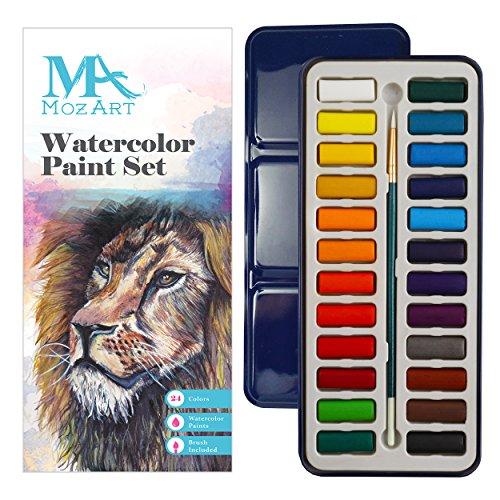 Aquarellfarben set - 24 kräftige Farben – Leicht und tragbar – Perfekt für Hobbymaler und Profis – Mit Pinsel - MozArt Supplies Landschaft Leinwand Malerei