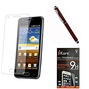 iKare Pack of 2 Premium Shatter Proof Tempered Glass Ultra Clear Screen Protector for Samsung Galaxy Core Prime G360H + 4in1 Laser Torch Stylus Pen