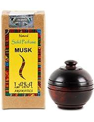 Lasa Aromatiques Musc Naturel Solide Musc Corps De Parfum Dans Un Bocal En Bois - 6 gm