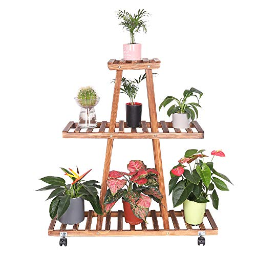 unho Blumenständer 3 Ebenen Blumenregal Blumentreppe auf Rollen aus Holz für Innen-Balkon Wohzimmer Outdoor Garten Terasse Dekor Pflanzentreppe 90×25×96cm