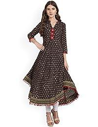 Amayra Womens Cotton Printed Anarkali Kurti (Brown)