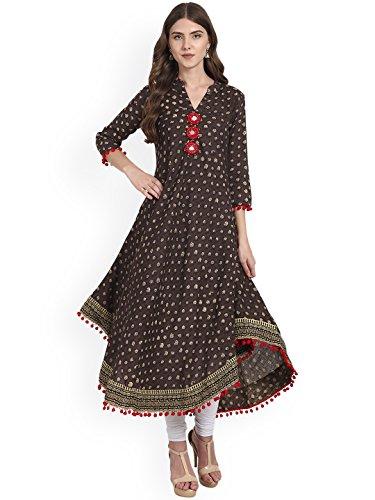 Amayra Womens Cotton Printed Anarkali Kurti(Medium,Brown)